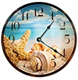 Cheap Sugar Vine Art RUSTIC SEA SHELLS Beach Clock Large 10.5″ Wall Clock Decorative Round Ocean Clock Home Decor Novelty Clock BEACHY OCEAN CLOCK