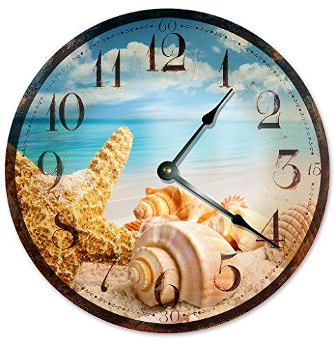 Cheap Sugar Vine Art RUSTIC SEA SHELLS Beach Clock Large 10.5″ Wall Clock Decorative Round Ocean Clock Home Decor Novelty Clock BEACHY OCEAN CLOCK