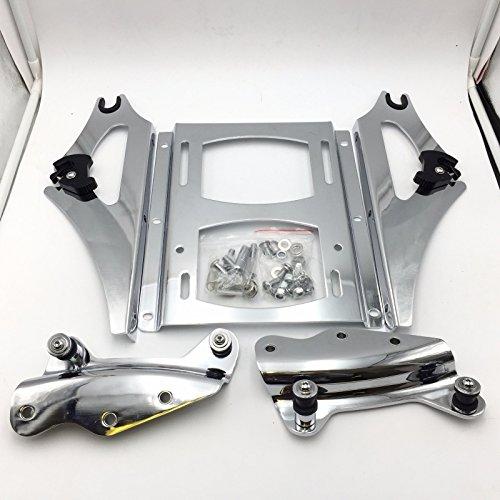 (HK MOTO Chrome 4-Point Docking Hardware Kit and Detachable 2-Up Tour Pak Mounting Luggage Rack Fit 2009-2013 Harley-Davidson Touring)