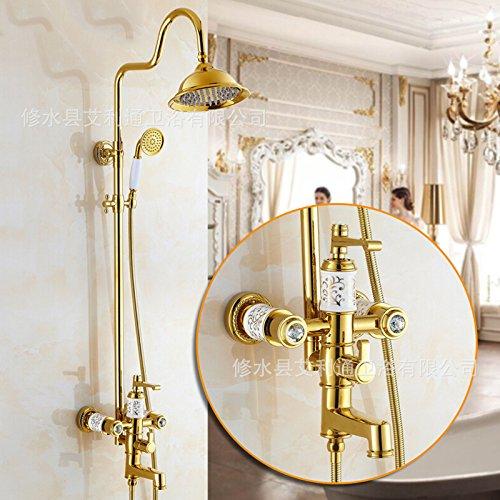 cheap SAEKJJ-European Copper Antique Ceramic Shower Set Shower Hot And Cold Shower Faucet Bathroom faucet
