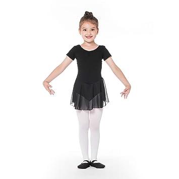 233b357c0 Bezioner Girls Ballet Dress Kids Gymnastics Dance Leotard Costume Dancewear  With Skirt Black 110
