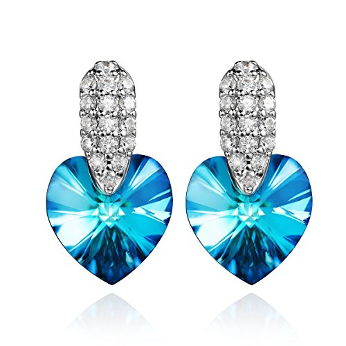 """SYLVICA """"Love Story"""" Crystal Earrings Heart Dangle Earrings Made with Blue Austrian Crystal 925 Silver Women Girls Fashion Jewelry Gift"""
