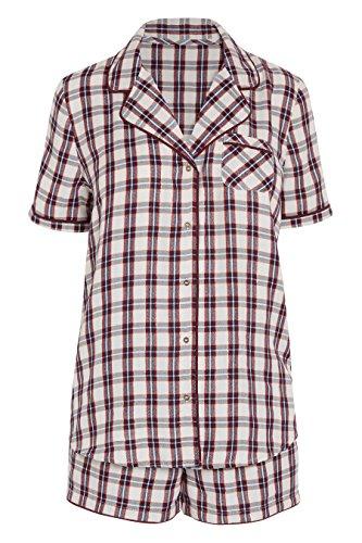 next Mujer Conjunto De Pijama Corto Abotonado Cuadros Punto Corte Regular Baya/Ecru