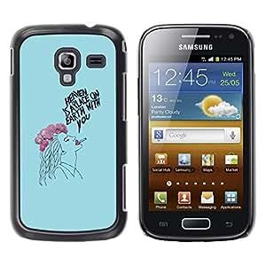 Be Good Phone Accessory // Dura Cáscara cubierta Protectora Caso Carcasa Funda de Protección para Samsung Galaxy Ace 2 I8160 Ace II X S7560M // Lady Smoker Blue Floral Drawing