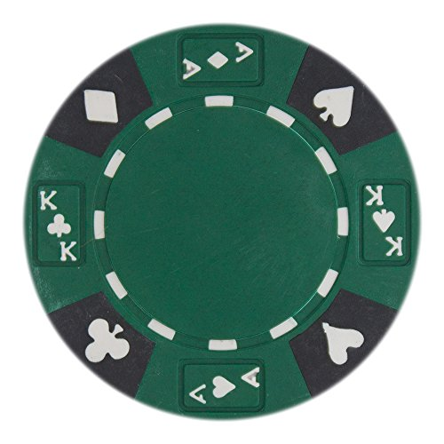 Composite Clay Denominated Poker Chips - Brybelly 50 Green Ace King Suited Clay Composite 14 Gram Poker Chips