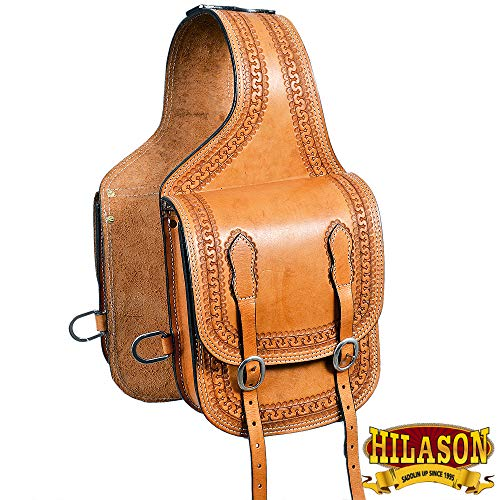 (HILASON BG107F Western Leather Cowboy Trail Ride Horse Saddle Bag Chestnut)