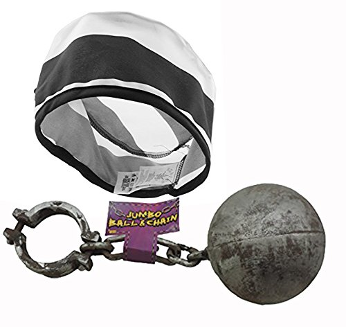 Adult Prisoner Hat With Plastic Ball And Chain Costume Set