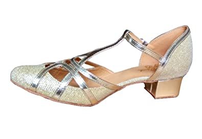 43489df644e CRC Women s Stylish Closed Toe Pale Gold Sparkle Material Synthetic  Ballroom Morden Salsa Latin Tango Party