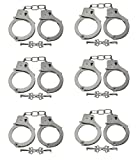 Police Toy Heavy Duty Diecast Metal Handcuffs with Keys - Bulk Party Favors (6 Pack)
