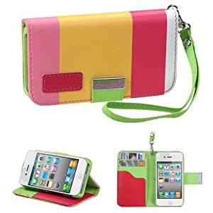 Fits Apple iPhone 4 4S Hard Plastic Snap on Cover Colorful(Hot pink/Yellow/Pink) Premium Book-Style MyJacket Wallet 853 AT&T, Verizon (does NOT fit Apple iPhone or iPhone 3G/3GS or iPhone 5)