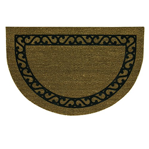 Half Round Iron - Bacova Guild 21853E Koko Half Round Door Mat with Flocked Iron Gate, 36
