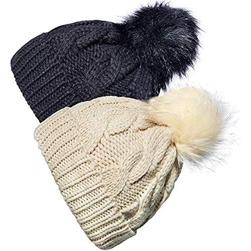 YSense 2 Pack Baby Boy Girl Winter Warm Fleece Lined Hat Infant Toddler Kid Crochet Hairball Beanie Knit Cap (0-5 Years) - Infant Fleece Hats