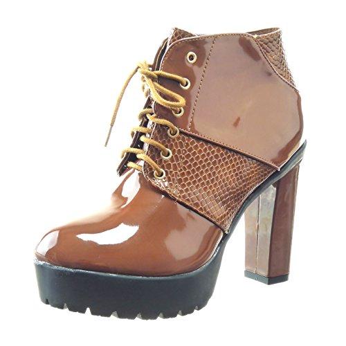 Sopily - damen Mode Schuhe Stiefeletten Biker Plateauschuhe glänzende Schlangenhaut - Braun