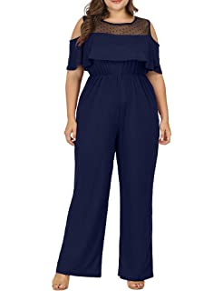 394351b0765 Allegrace Women Plus Size Cold Shoulder Lace Jumpsuit Flounce Sleeve Long  Rompers