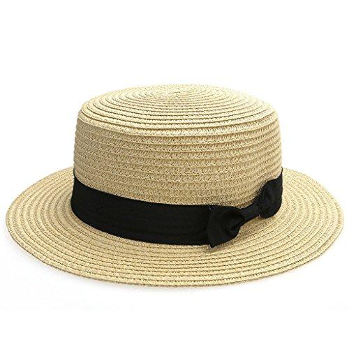 Ayliss Women Summer Short Brim Straw Fedora Hat With Bow-Tie Band, One Size, Beige]()