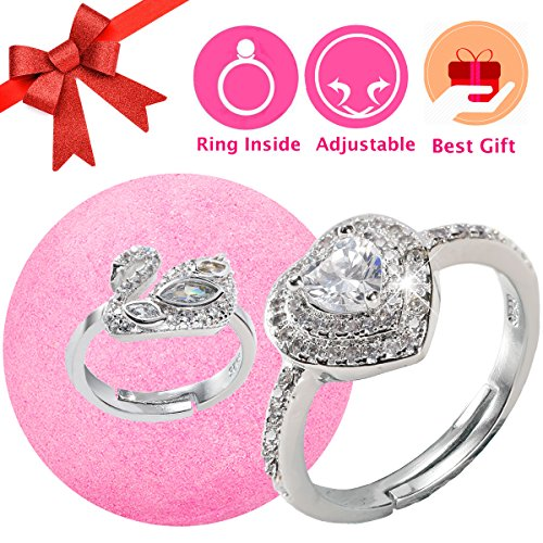 Bath Bomb with Ring Surprise Prizes Gift Inside for Women Lush Jewelry Bath Bomb Hidden Diana Diamond Heart Ring Bubble Love Treasure Fizzies Bath Bombs for Kids (For Kids Bath Bombs)