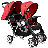 Costzon Double Stroller, Twin Tandem Baby Stroller with Adjustable Backrest, Footrest, 5 Points Safety Belts, Foldable Design for Easy Transportation (Red)