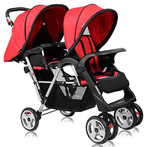 All Terrain Tandem Double Stroller - Costzon Double Stroller, Twin Tandem Baby Stroller with Adjustable Backrest, Footrest, 5 Points Safety Belts, Foldable Design for Easy Transportation (Red)