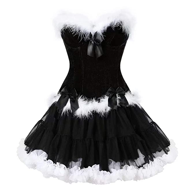 f7d7836ec52 Women s Overbust Christmas Corset top and Skirt Set Bustier Gowns Costume  Sexy Basque Black S