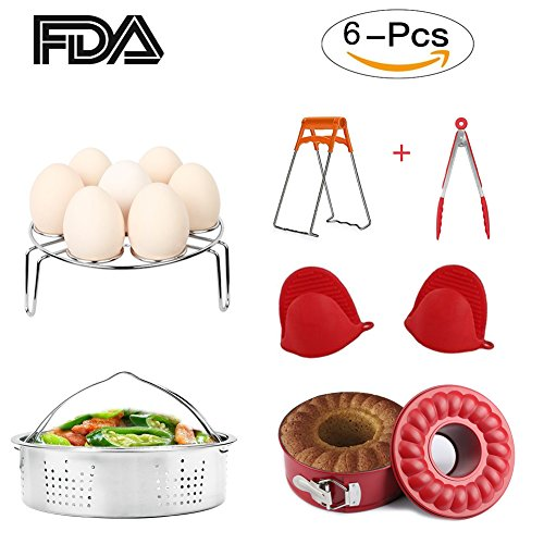 Instant Pot Accessories Set 6 Pieces Value Pack Fits 5, 6, 8 QT Pressure Cooker. Steamer Basket, Springform Pan, Egg Steamer Rack, Steaming Stand, Kitchen Tongs and 1 Pair Silicone Cooking Pot