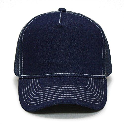 Vintage Year Denim Cotton High Profile Mesh Adjustable Snapback Trucker Baseball Cap (Navy/White) Denim Nylon Cap