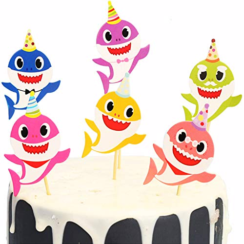 Baby Shark Cupcake Toppers Picks for Kids Baby Shower Birthday Party Cake Decoration Supplies Set of -