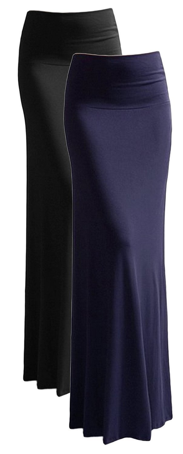 Azules Women'S Rayon Span Maxi Skirt - Solid,Small,2 Pack: Black & Navy