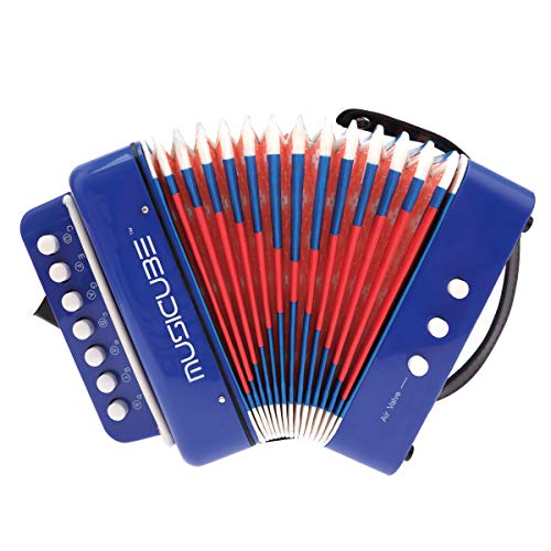 MUSICUBE 10 Keys Accordion, Kids Toy Accordion, Solo and Ensemble, Musical Instrument for Early Childhood Teaching, Blue