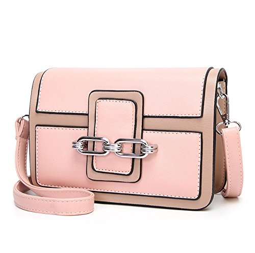 HAOYUXIANG Versión coreana de la moda que cose el bolso femenino solo del hombro del temperamento del bolso de las mujeres de costura (Color : Negro) Pink