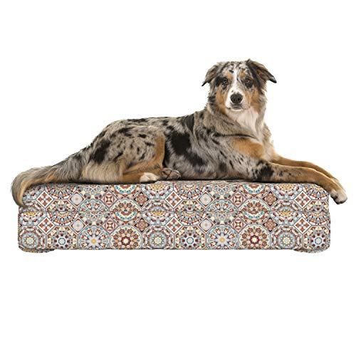 Lunarable Patchwork Dog Bed, Ancestral Mosaic Pattern with Octagons and Rhombuses from The Folklore of Tunisia, Dog Pillow with High Resilience Visco Foam for Pets, 32