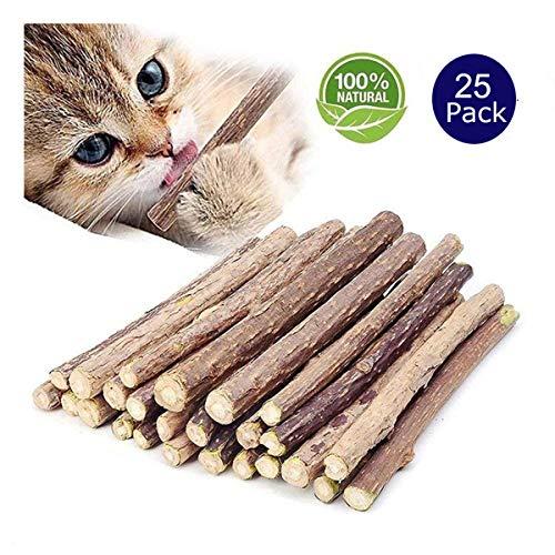 Catnip Sticks Organic Chew Toys Natural Plant Matatabi Silvervine Chew Sticks Cat Teeth Cleaning Chew Toy for Cat Kitten Kitty (25 Pcs)