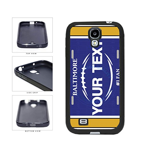 (BleuReign(TM) Personalized Custom Name Football Baltimore License Plate TPU RUBBER SILICONE Phone Case Back Cover For Samsung Galaxy S4)