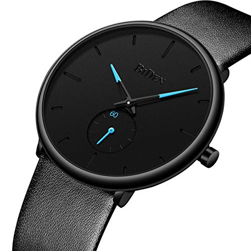 Tamlee Fashion Minimalist Quartz Analog Mens Watches with Black Leather Strap Waterproof Ultra Thin Wrist Watch in Black Face and Blue Sub Dial