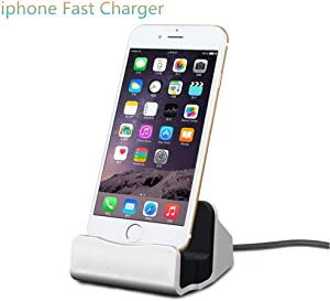 iPhone Charging Dock Station, Bebetter 8-pin Charging Dock Compatible with Apple iPhone 8, iPhone X, iPhone 7/7 Plus 6 6S Plus 5 5S Retail Packaging (Silver)