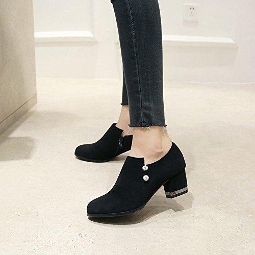 Boots Black Women's Carolbar Heel Chic Block Rhinestones Ankle qT7PTxFY