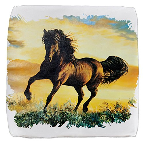 18 Inch 6-Sided Cube Ottoman Horse at Sunset by Royal Lion