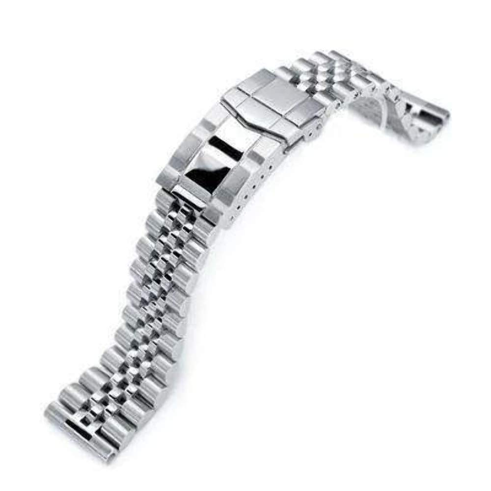 Strapcode 22mm Super Jubilee 316L Stainless Steel Watch Band, Solid Straight End, Brushed & Polished Submariner Clasp