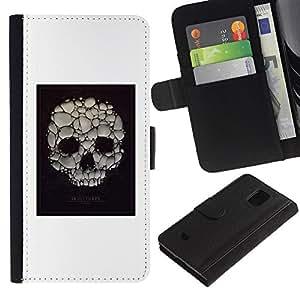 LASTONE PHONE CASE / Lujo Billetera de Cuero Caso del tirón Titular de la tarjeta Flip Carcasa Funda para Samsung Galaxy S5 Mini, SM-G800, NOT S5 REGULAR! / Skull Soap Bubble Death Poster White