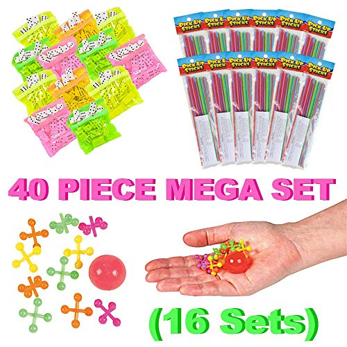 Mr. E=mc2 Classic Games Bulk Party Favors for 12 Goody Bags | Dozen Each: Double Six Domino Set, Pick Up Sticks, Jacks | Carnival Prizes, Treasure Box Rewards, Pinata Fillers, Community Events -