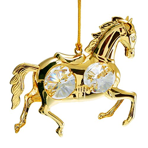Mustang Horse 24k Gold Plate Hanging Ornament with Spectra Crystals by Swarovski