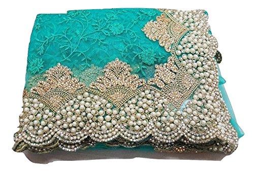 (Designer Ethnic PartyWear Saree for Women Ethnic Traditional Womens Sari (Turquoise))