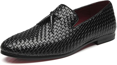 Men's Woven Lux Loafers Modern Casual Tassel Round Toe Slip-on Leather Moccasin Driving Shoes (11, Black)