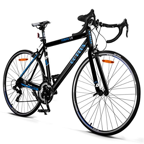 Goplus Commuter Bike Road Bike Quick Release Aluminum 700C Shimano 21 Speed (Black)