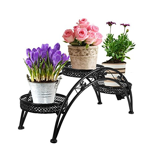 Iron Wrought Stand (Dazone Wrought Iron Pot Plant Stand for Three Plants Indoor or Outdoor Garden Patio Decor Arch Design Black)
