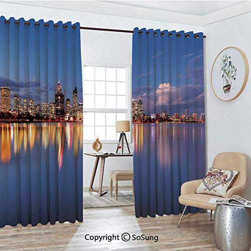 Thermal Insulated Blackout Patio Door Drapery,Skyline of Perth Western Australia at Night Dramatic Urban Swan River Scenery Decorative Room Divider Curtains,2 Panel Set,100