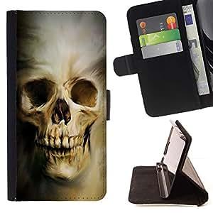 Momo Phone Case / Flip Funda de Cuero Case Cover - Cráneo gótico Evil;;;;;;;; - Motorola Moto E ( 1st Generation )