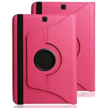 Galaxy Tab S2 8.0 Case Cover,TechCode 360 Degrees Rotating PU Leather Smart Case Cover for Samsung Tab S2 8.0 inch Tablet SM-T710,SM-T715(Hot Pink,Tab S2 8.0)