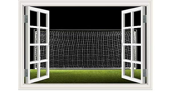 LUCKYYL Pegatinas De Pared 3D Vista De La Ventana Balón De Fútbol ...