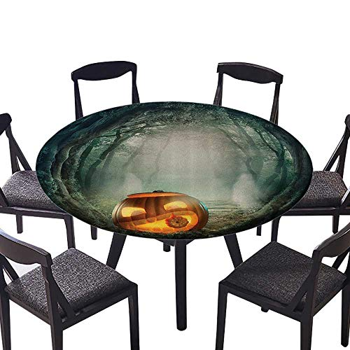 (Round Polyester Tablecloth Table Cover Scary Halloween Pumpkin in Enchanted Forest Mystic Twilight Party Theme Stain Resistant 31.5