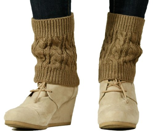 Lucky Love Boot Cuffs for Women ¥ Boot Toppers with Cable Knit Detail or Buttons, Tan
